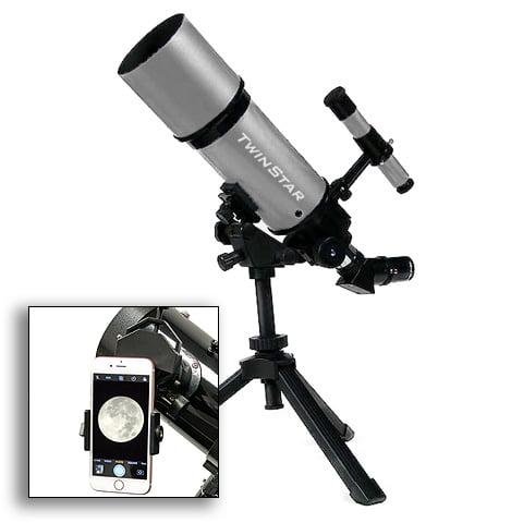 Twinstar 80mm Refractor Telescope w Universal Smartphone ...