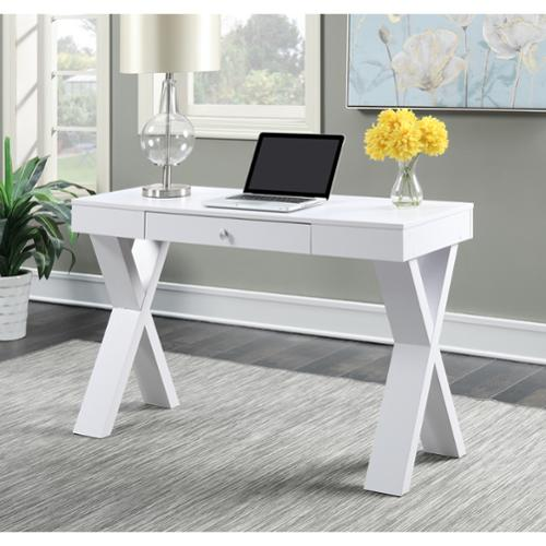 Newport Espresso/White Wood Desk with Drawer 125807 - Walmart.com