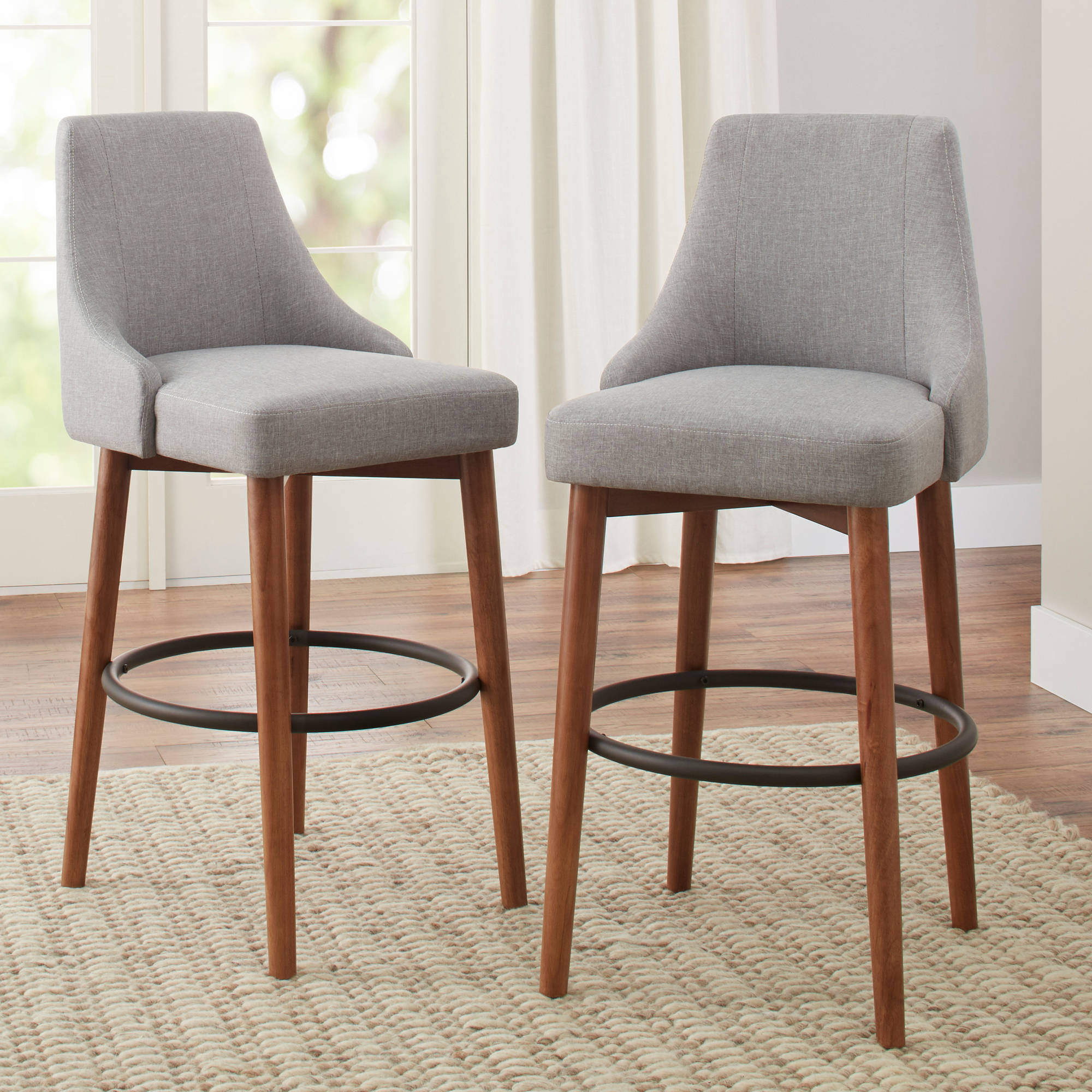 better homes and gardens reed mid century modern barstool set of 2 smoke