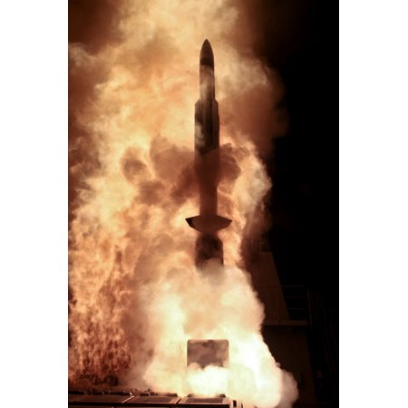 Japan Maritime Self Defense Force destroyer JDS Chokai launches a Standard Missile 3 Poster Print by Stocktrek Images