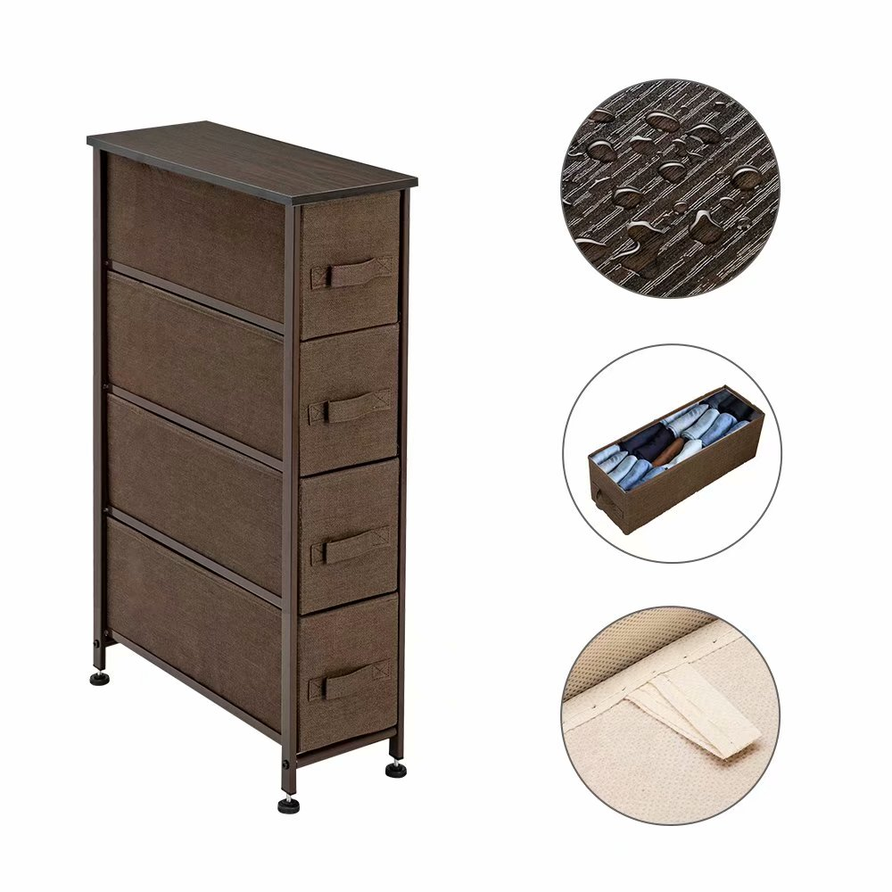 Narrow Dresser Vertical Storage Unit With 4 Fabric