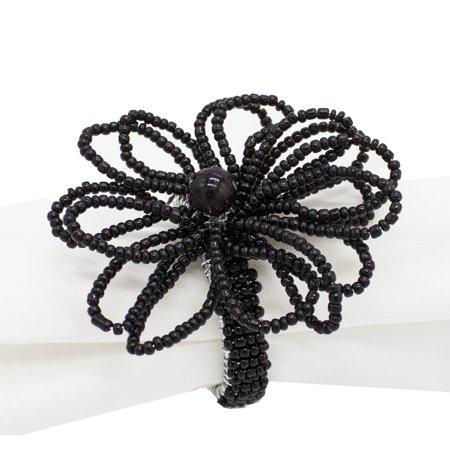 Hand Beaded Flower Design Napkin Rings, Set of 4 (Black) ()