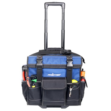 FRONTIER PRO 15-inch ROLLING TOOL BAG, HEAVY DUTY NYLON, with Pop up handle wheels,Black and - Klein 16 Canvas Tool Bag