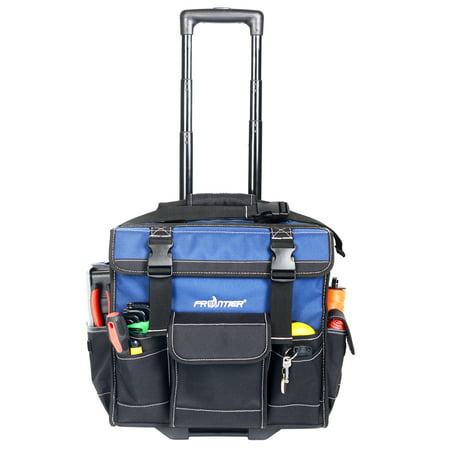 FRONTIER PRO 15-inch ROLLING TOOL BAG, HEAVY DUTY NYLON, with Pop up handle wheels,Black and Blue