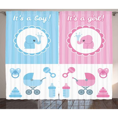 Gender Reveal Curtains 2 Panels Set, Elephants Girl Boy Kids Newborn ...