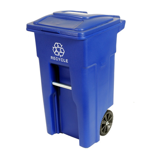 Toter Residential Heavy Duty 32 Gallon Manual Lift Curbside Trash & Recycling Bin