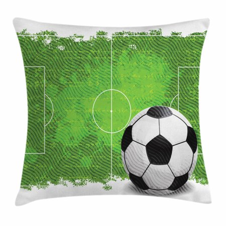 Soccer Throw Pillow Cushion Cover, Grunge Worn Looking Pitch Pattern Football Six Yard Box Vintage Illustration, Decorative Square Accent Pillow Case, 24 X 24 Inches, Green Black White, by Ambesonne ()