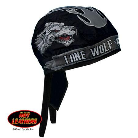Authentic Bikers Premium Headwraps, LONE WOLF No Club - High Quality Micro-Fiber & Mesh Lining