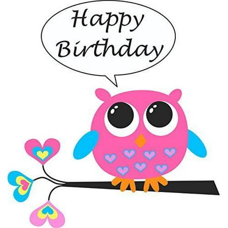 Owl Happy Birthday Edible Icing Image for 1/4 sheet cake - Owl Birthday Cake