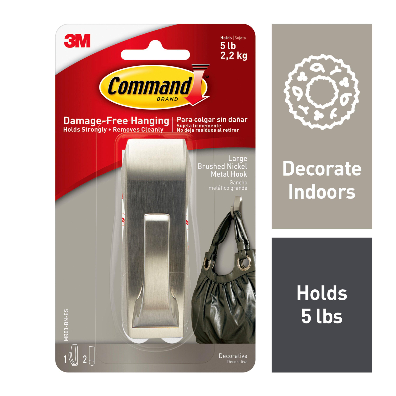 Command Modern Reflections Hook, Brushed Nickel, Large, 1 Hook, 2 Strips/Pack