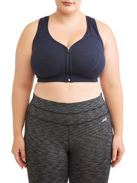 Athletic Works Women's Plus Size Zip Front Bra