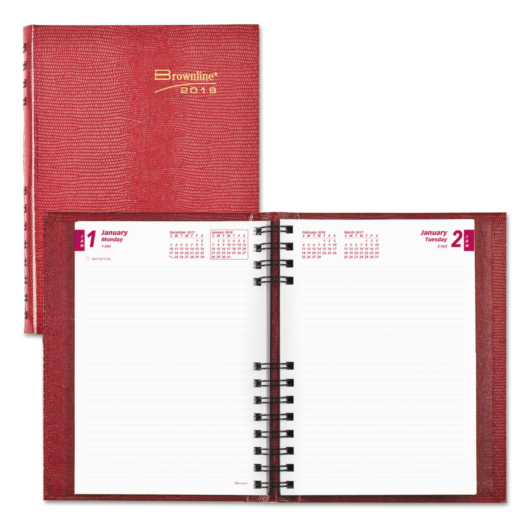 Brownline CoilPro Daily Planner, Ruled 1 Day/Page, 8 1/4 x 5 3/4, Red, 2018