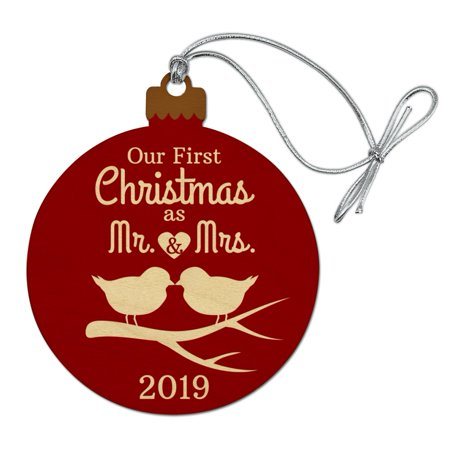Our First Christmas as Mr and Mrs 2019 Married Kissing Birds Red Background Wood Christmas Tree Holiday (Our First Christmas As Mr And Mrs Svg)