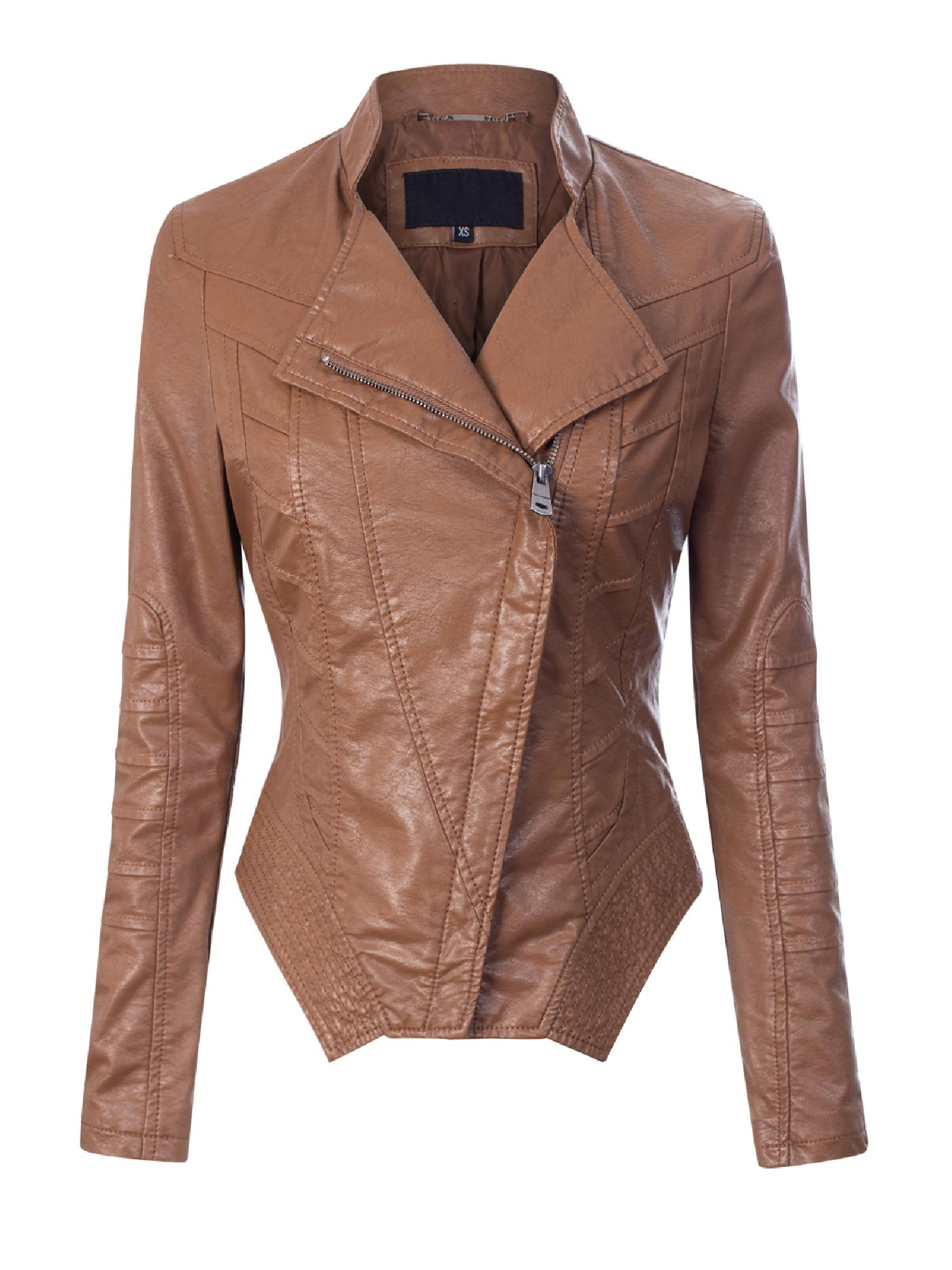 Design by Olivia Womens Fashion Motorcycle Asymmetrical Cropped Faux Leather Jacket