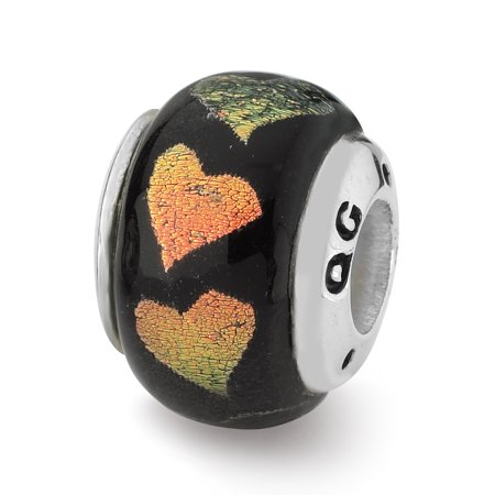 925 Sterling Silver Charm For Bracelet Orange/green Hearts Dichroic Glass Bead Glas Fine Jewelry Gifts For Women For Her - image 8 de 8