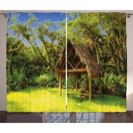 Tiki Bar Curtains 2 Panels Set, Tiki Hut in Dreamy Fantasy Forest Tropical Island Wildlife Greenery Art, Window Drapes for Living Room Bedroom, 108W X 96L Inches, Green Blue Brown, by Ambesonne 10 Tiki Hut