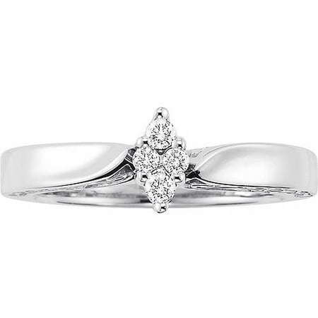 Forever Bride Women's 1/8 Carat T.W. Diamond Sterling Silver Engagement Ring