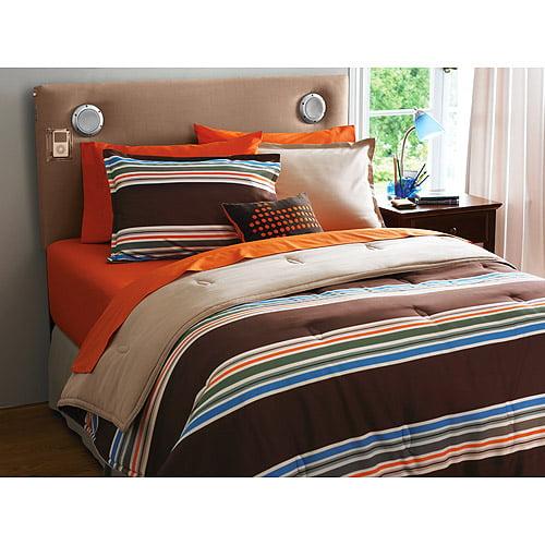 Your Zone Reversible Comforter & Sham Set, Brown / santa Cruz Stripe