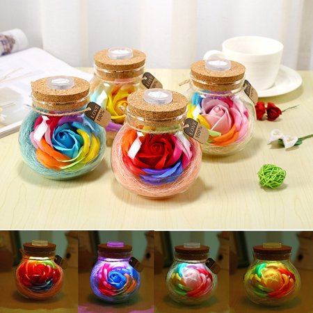 Handmade Valentine's Day Gifts Preserved Rose Flower in Glass Dome w/ LED Lights](Flower Led)