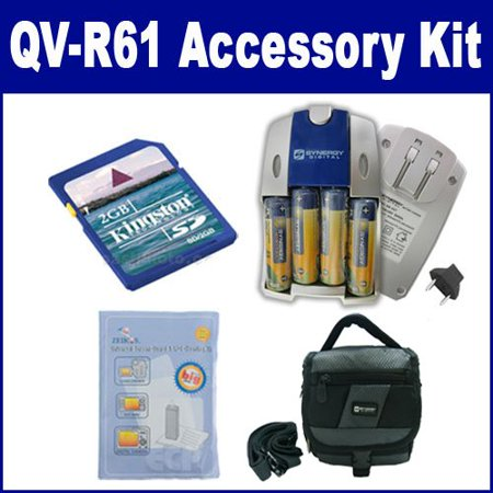Casio Exilim QV-R61 Digital Camera Accessory Kit includes: SDC-27 Case, KSD2GB Memory Card, ZELCKSG Care & Cleaning, SB257