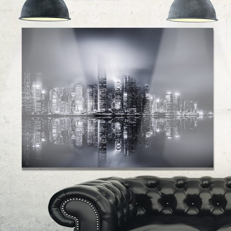 DESIGN ART Hong Kong Black and White Panorama - Cityscape Glossy Metal Wall Art 40 in. wide x 30 in. high