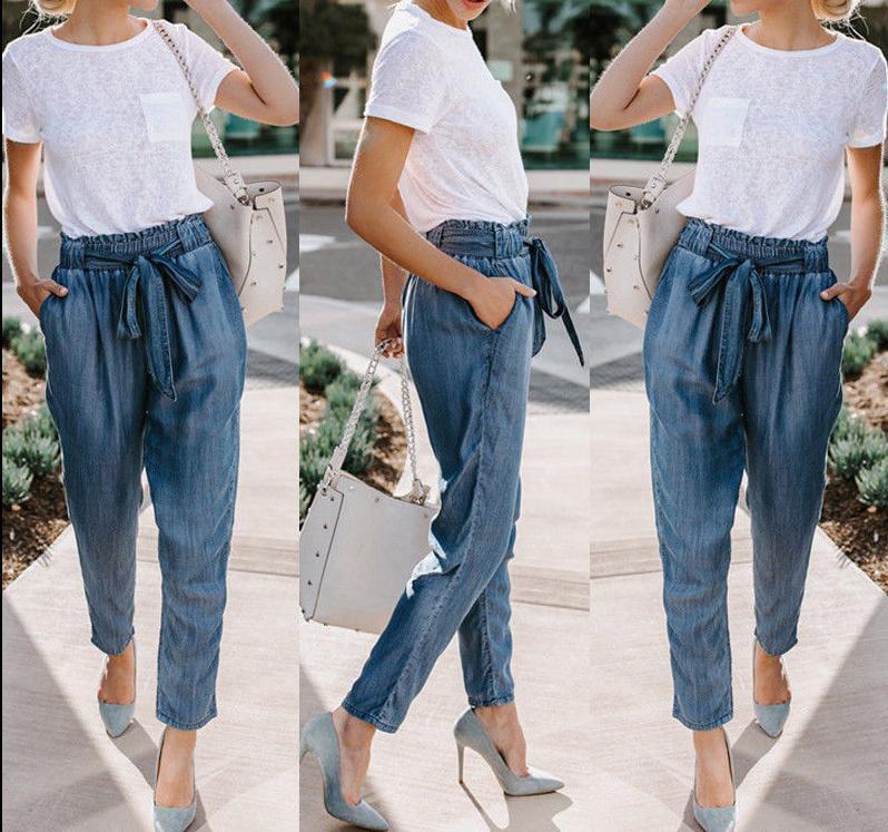 Casunbaby 2019 Women Lady Denim Skinny Pants High Waist Stretch