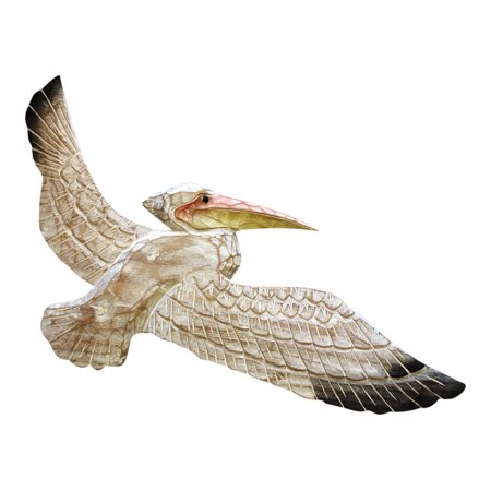 Whitewashed Pelican Flying Carved Wood Wall Plaque 20 Inches ()