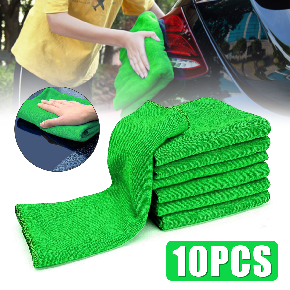 10Pcs Micro Fiber Cleaning Cloths Green Auto Car Care Detailing Microfiber Auto Duster Towel Wipes Cleaning Supplies
