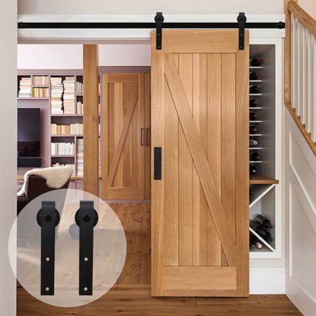 10 feet bypass ru stic barn wood door hardware closet sliding rail kit arrow style sliding barn. Black Bedroom Furniture Sets. Home Design Ideas