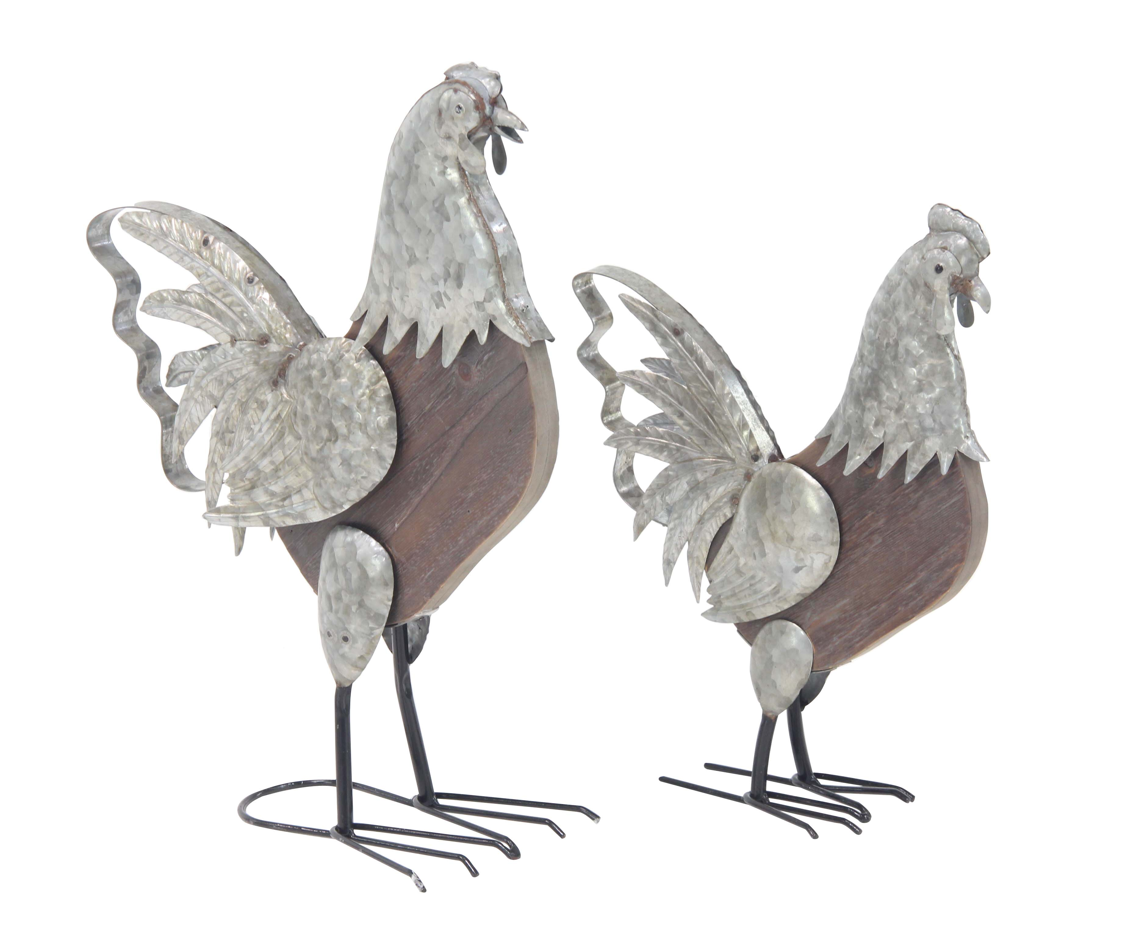 Decmode Farmhouse 16 and 20 Inch Metal and Fir Wood Rooster Sculptures Set of 2 by DecMode