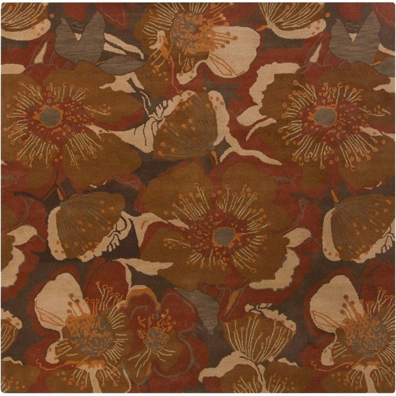 Surya Athena 4' x 4' Square Hand Tufted Wool Rug in Orange Brown