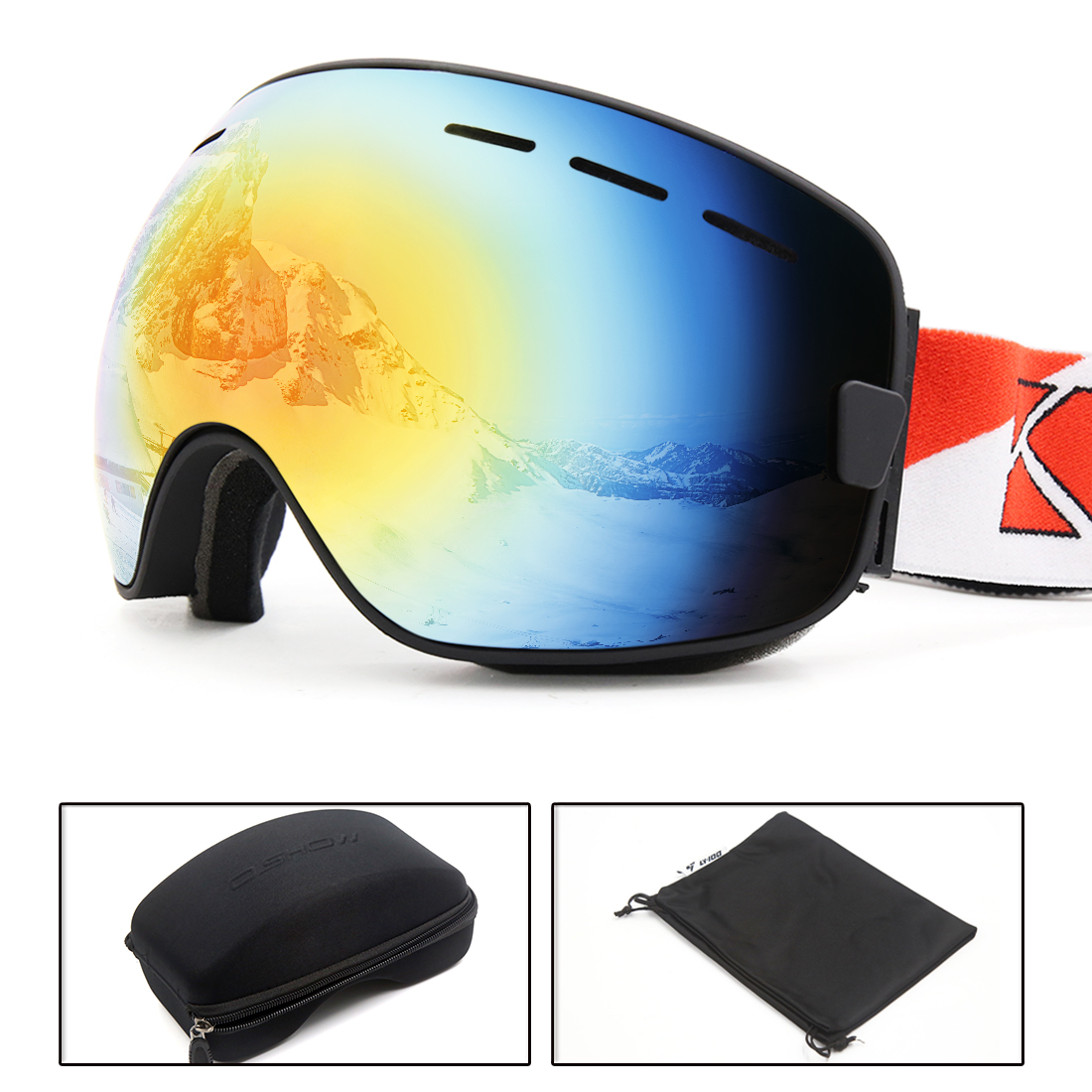Ski Snowboard Goggles Anti-fog UV400 Protection Black Mirror Lens with Case by