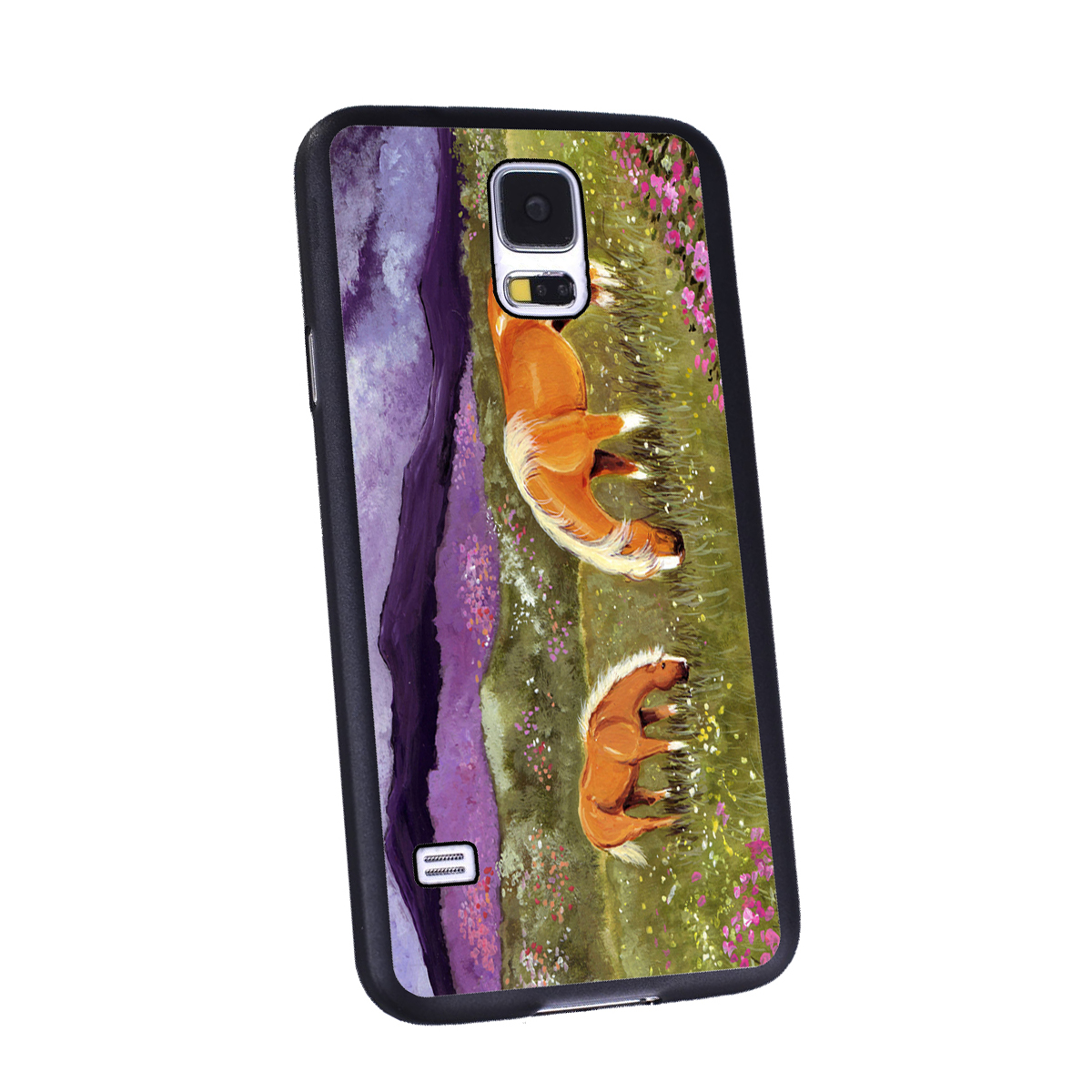KuzmarK Samsung Galaxy S5 Black Cover Case - Belgian Mare and Foal High Valley Spring Horse Art by Denise Every