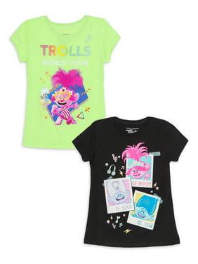 Dreamworks Trolls Poppy Girls Neon & Holo Music Glitter Graphic T-Shirts, 2-Pack, Sizes 4-16