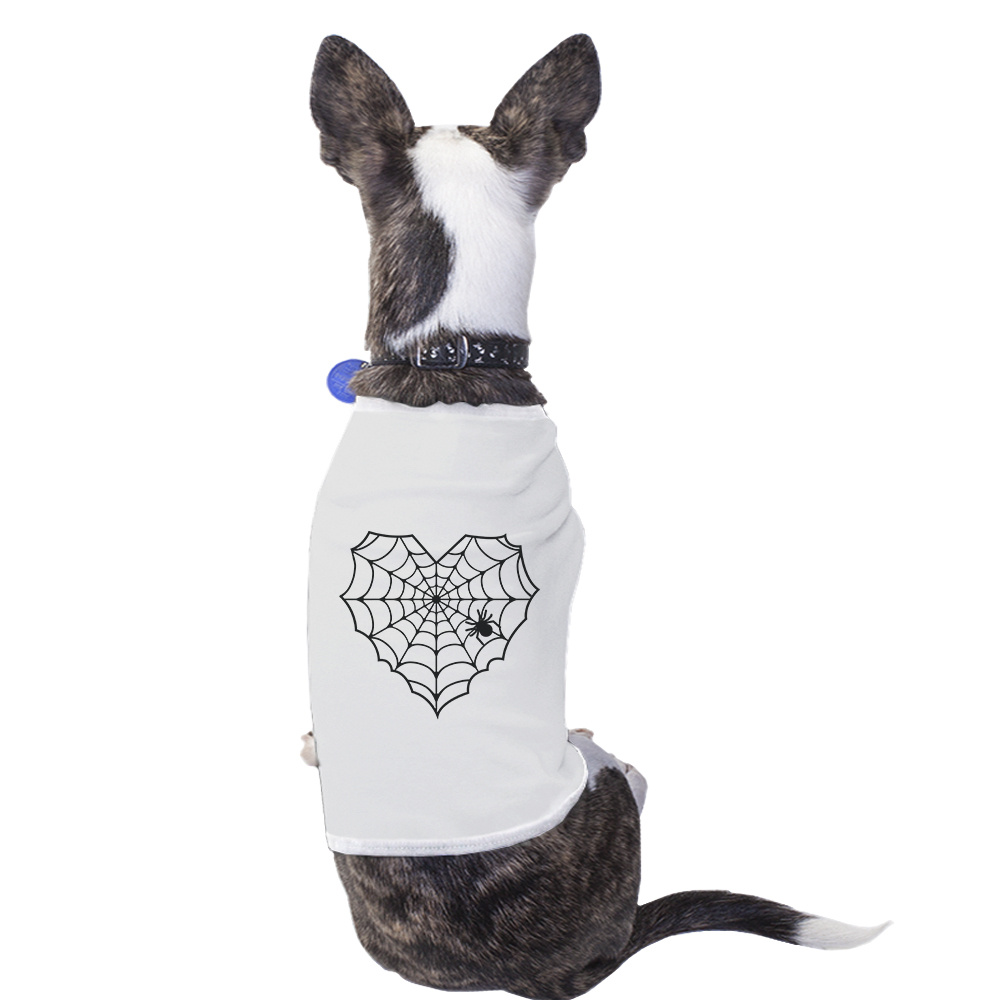 Heart Spider Web White Small Pet Shirt Halloween Costumes For Pets