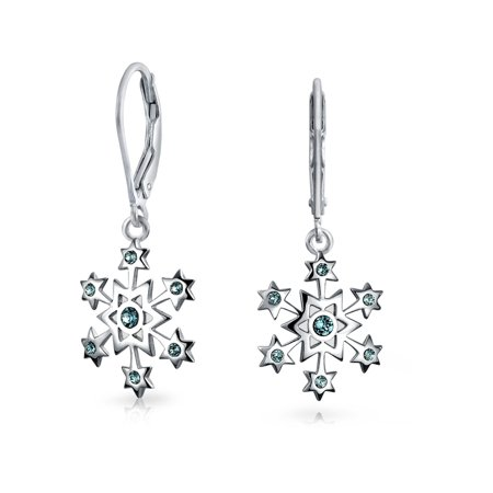Holiday Christmas Snowflake Star Drop Leverback Earrings For Women For Teen Simulated Blue Topaz 925 Sterling Silver