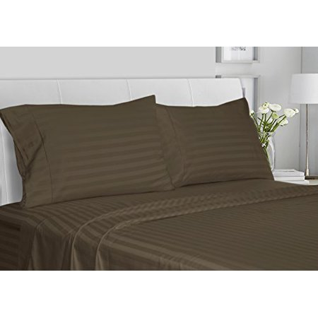CHATEAU HOME COLLECTION Luxury 100% Supima Cotton 500 Thread Count Ultra Soft Damask Stripe Sheet Set, Mega Sale, Lowest Prices, Walnut, King
