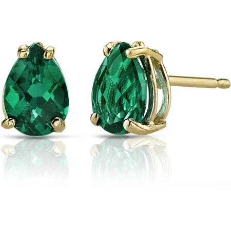 1.25 Carat T.G.W. Pear-Shape Created Emerald 14kt Yellow Gold Stud Earrings