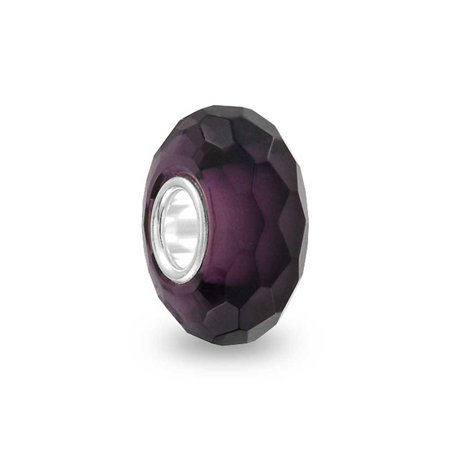 Bling Jewelry Purple Faceted Crystal glass Simulated Amethyst  Charm Bead .925 Sterling silver
