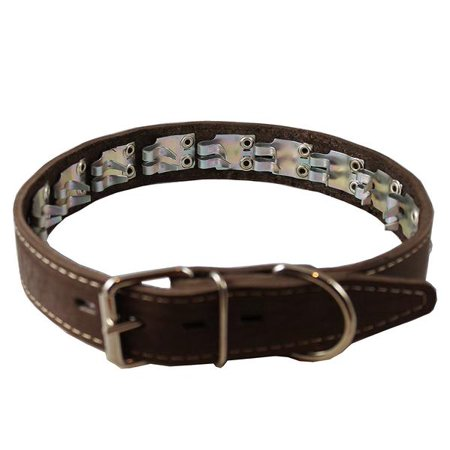 Leather Pinch Collar - Training Pinch and Genuine Leather Studded Dog Collar Fits 13'-17' Neck Brown 21.5'x1.5' Wide