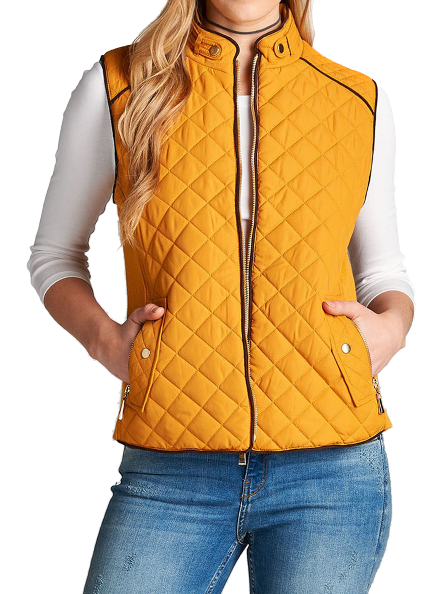 Women & Juniors Quilted Padding Lightweight Vest Jacket with Suede Pipping Details and Side Pockets