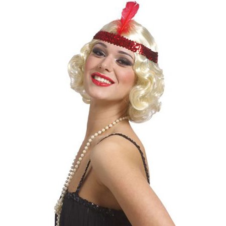 Blonde Curly Flapper Wig with Headband - Curly Blond Wig