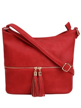 Deluxity Slouchy Tassel Crossbody Purse- Red