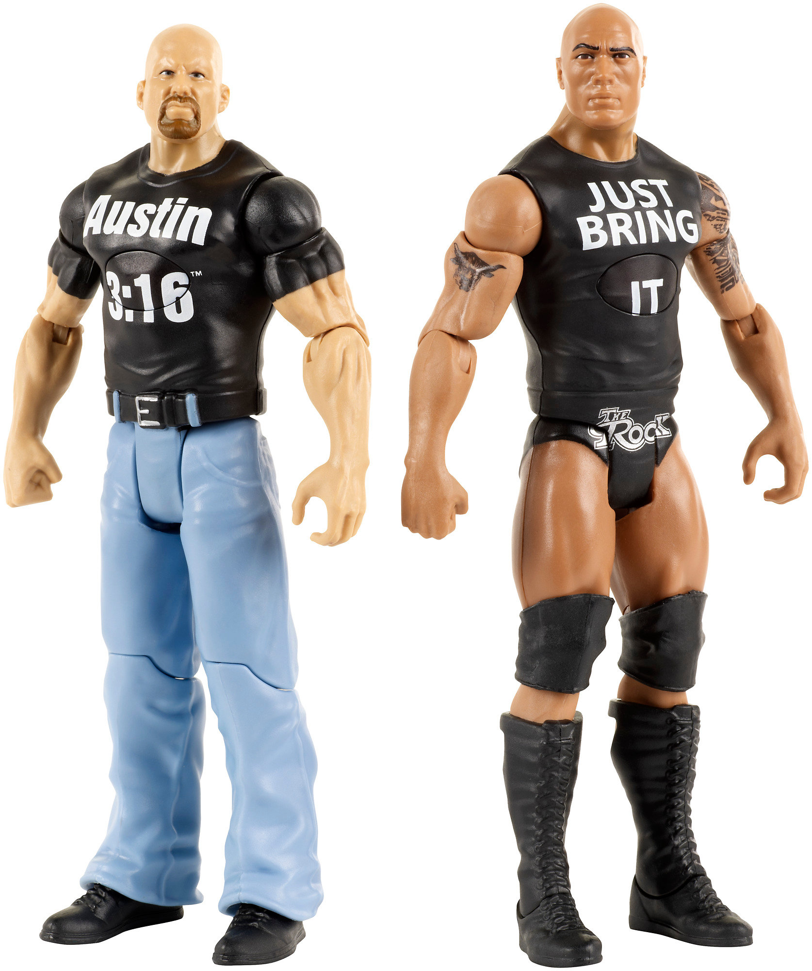 WWE Tough Talkers The Rock & Steve Austin Innovation Figures 2-Pack by Mattel