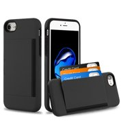Apple iPhone 8, iPhone 7 Wallet Phone Case Ultra Protective Cover with 3 Cedit Card ID Holder Slot [Slim] Heavy Duty Shock Absorption Hybrid Hard PC + TPU Armor BLACK Case for Apple iPhone 8 / 7