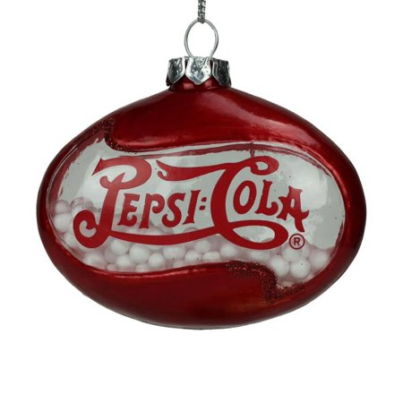 "Northlight 3"" Pepsi Cola Disc Shaped Snow Filled Glass Christmas Ornament - Red"