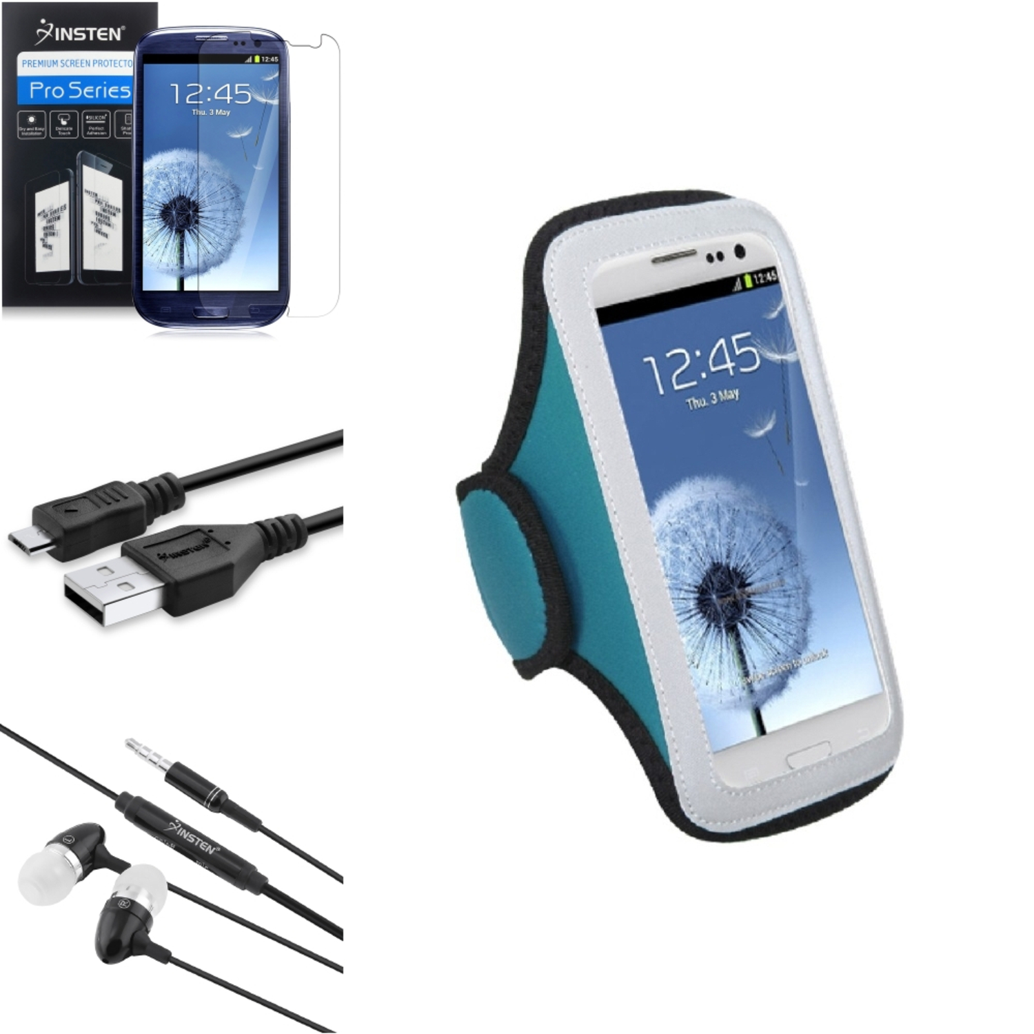 Insten Blue GYM Armband Case Clear Pro USB Blk Headset For Samsung Galaxy S III i9300
