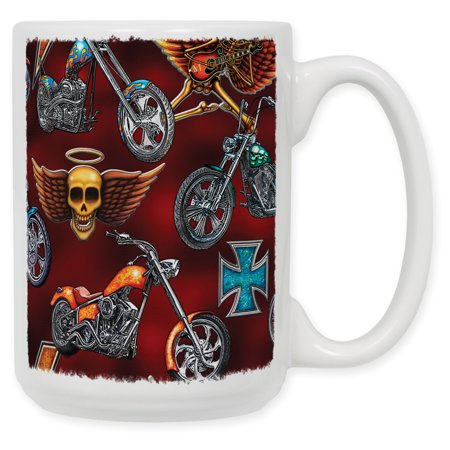 15 Ounce Ceramic Coffee Mug - Choppers & (Skull Chopper)