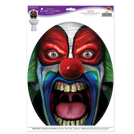 Club Pack of 12 Halloween Toilet Under the Lid Scary Clown Peel 'N Place 17