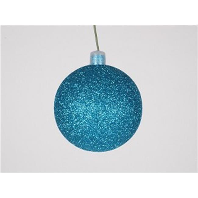 Winterland WL-ORN-BLKG-140-AQ-W 140 mm Glitter Aqua Ball Ornament with Wire - Pack of 6